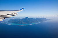 Moorea island seen from Air Tahiti Nui airplane
