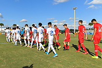 LAKEWOOD RANCH, FL - NOVEMBER 18: The U-16 USBNT Starting XI and U-16 Turkey Starting XI enter the field during a game between Turkey and U-16 USBNT at Premier Sports Campus on November 18, 2019 in Lakewood Ranch, Florida.