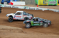 Mar. 20, 2011; Chandler, AZ, USA;  LOORRS pro four driver Carl Renezeder in front of with Johnny Greaves coming into turn 4 during round two at Firebird International Raceway. Mandatory Credit: Mark J. Rebilas-