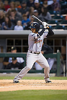 Cole Figueroa (2) of the Scranton\Wilkes-Barre RailRiders at bat against the Charlotte Knights at BB&T BallPark on May 1, 2015 in Charlotte, North Carolina.  The RailRiders defeated the Knights 5-4.  (Brian Westerholt/Four Seam Images)