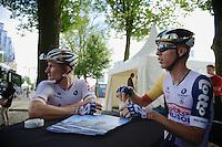 André Greipel (DEU) & buddy Marcel Sieberg (DEU) enjoying a coffee before the start<br /> <br /> 2nd World Ports Classic 2013<br /> stage 2: Rotterdam  (NLD) - Antwerpen (BEL)<br /> 191km