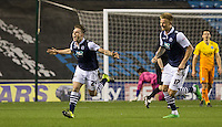 Ben Thompson of Millwall turns to celebrate his goal during the FA Cup 2nd round match between Millwall and Wycombe Wanderers at The Den, London, England on 5 December 2015. Photo by Andy Rowland / PRiME