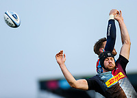 13th February 2021; Twickenham Stoop, London, England; English Premiership Rugby, Harlequins versus Leicester Tigers; Lewies (c) of Harlequins unable to control line out ball