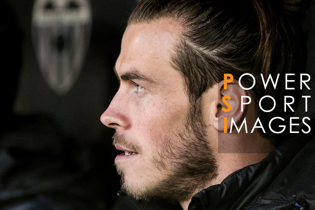 Gareth Bale of Real Madrid at the bench prior to the La Liga match between Valencia CF and Real Madrid at the Estadio de Mestalla on 22 February 2017 in Valencia, Spain. Photo by Maria Jose Segovia Carmona / Power Sport Images