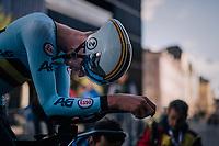 Branko Huys (BEL)<br /> <br /> post-race battlefield in the finish zone<br /> <br /> MEN JUNIOR INDIVIDUAL TIME TRIAL<br /> Hall-Wattens to Innsbruck: 27.8 km<br /> <br /> UCI 2018 Road World Championships<br /> Innsbruck - Tirol / Austria