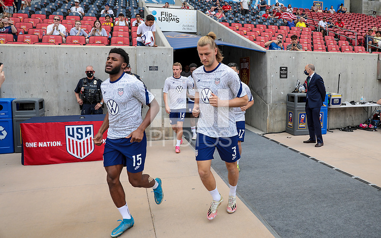 SANDY, UT - JUNE 10: Kellyn Acosta #23 and Tim Ream #13 of the United States warming up before a game between Costa Rica and USMNT at Rio Tinto Stadium on June 10, 2021 in Sandy, Utah.