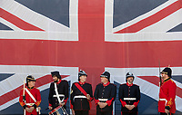 BNPS.co.uk (01202 558833)<br /> Pic: Zachary Culpin/BNPS<br /> <br /> Pictured: Dressed to impress - The Nothe Fort Artillery were on parade in front of a huge Union Jack to celebrate Heritage Open Day in Weymouth, Dorset today (Sunday).<br /> <br /> The Nothe Fort, which was built between 1860 and 1872, opened its doors for free to mark England's largest festival of history and culture.