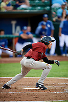Offerman Collado (0) of the Idaho Falls Chukars follows through on a swing during a game against the Ogden Raptors at Lindquist Field on August 29, 2018 in Ogden, Utah. Idaho Falls defeated Ogden 15-6. (Stephen Smith/Four Seam Images)