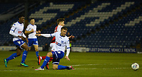 Fleetwood Town's Conor McAleny (left) goas pass Bury's Joe Skarz (right) during the The Checkatrade Trophy match between Bury and Fleetwood Town at Gigg Lane, Bury, England on 9 January 2018. Photo by Juel Miah/PRiME Media Images.