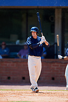 Mobile BayBears designated hitter Hutton Moyer (11) at bat during a game against the Pensacola Blue Wahoos on April 26, 2017 at Hank Aaron Stadium in Mobile, Alabama.  Pensacola defeated Mobile 5-3.  (Mike Janes/Four Seam Images)