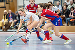 Mannheim, Germany, February 15: During the 1. Regionalliga Sued indoor hockey match between Feudenheimer HC and HG Nuernberg on February 15, 2020 at Irma-Roechling-Halle, Am Neckarkanal in Mannheim, Germany. Final score 6-2. (Photo by Dirk Markgraf / www.265-images.com) ***