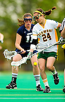 1 May 2010: University of Vermont Catamount attacker/midfielder Jen Madsen, a Freshman from Guilderland, NY, in action against the University of New Hampshire Wildcats at Moulton Winder Field in Burlington, Vermont. The Lady Catamounts fell to the visiting Wildcats 18-10 in the last game of the 2010 regular season. Mandatory Photo Credit: Ed Wolfstein Photo