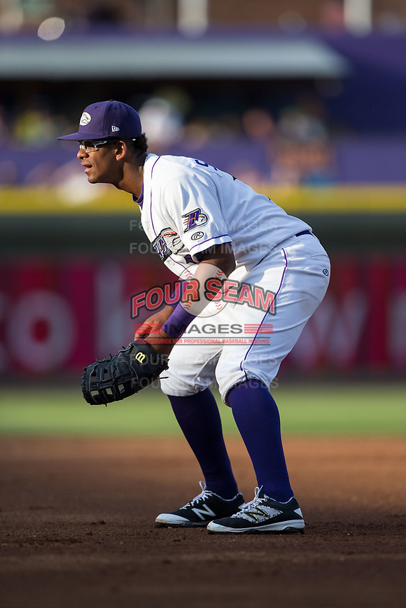 Winston-Salem Dash first baseman Louis Silverio (15) on defense against the Buies Creek Astros at BB&T Ballpark on April 15, 2017 in Winston-Salem, North Carolina.  The Astros defeated the Dash 13-6.  (Brian Westerholt/Four Seam Images)
