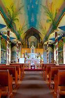Interior of St. Benedict's Painted Church, Honaunau, Kona, Big Island