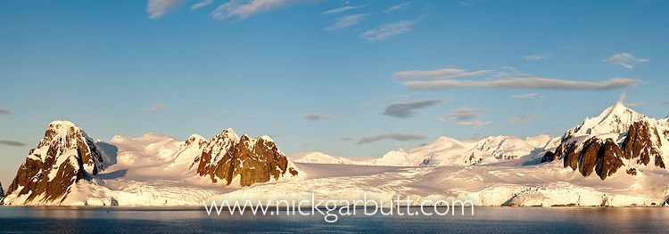Antarctic Peninsula bathed in afternoon sunlight from Vernadsky, Antarctica. (digitally stitched image)