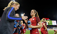 San Jose, CA - Sunday November 12, 2017: Allie Long, Kelley O'Hara during an International friendly match between the Women's National teams of the United States (USA) and Canada (CAN) at Avaya Stadium.