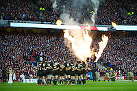 The All Blacks prepare for the Hilary Shield before the QBE Autumn International match between England and New Zealand at Twickenham on Saturday 01 December 2012 (Photo by Rob Munro)