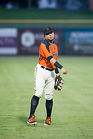 AZL Giants right fielder Diego Rincones (35) warms up in the outfield prior to a game against the AZL Cubs on September 5, 2017 at Scottsdale Stadium in Scottsdale, Arizona. AZL Cubs defeated the AZL Giants 10-4 to take a 1-0 lead in the Arizona League Championship Series. (Zachary Lucy/Four Seam Images)