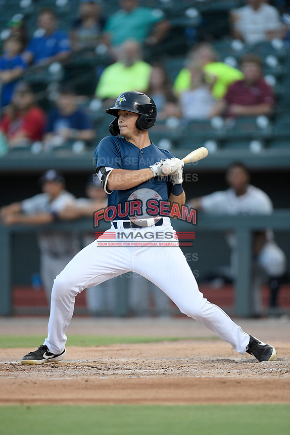 First baseman Brian Sharp (7) of the Columbia Fireflies bats in a game against the Rome Braves on Tuesday, June 4, 2019, at Segra Park in Columbia, South Carolina. Columbia won, 3-2. (Tom Priddy/Four Seam Images)
