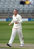 29th May 2021; Emirates Old Trafford, Manchester, Lancashire, England; County Championship Cricket, Lancashire versus Yorkshire, Day 3; Matt Parkinson celebrates after giving Lancashire the breakthrough they need with Adam Lyth of Yorkshire caught behind by Luke Wells on 72-1