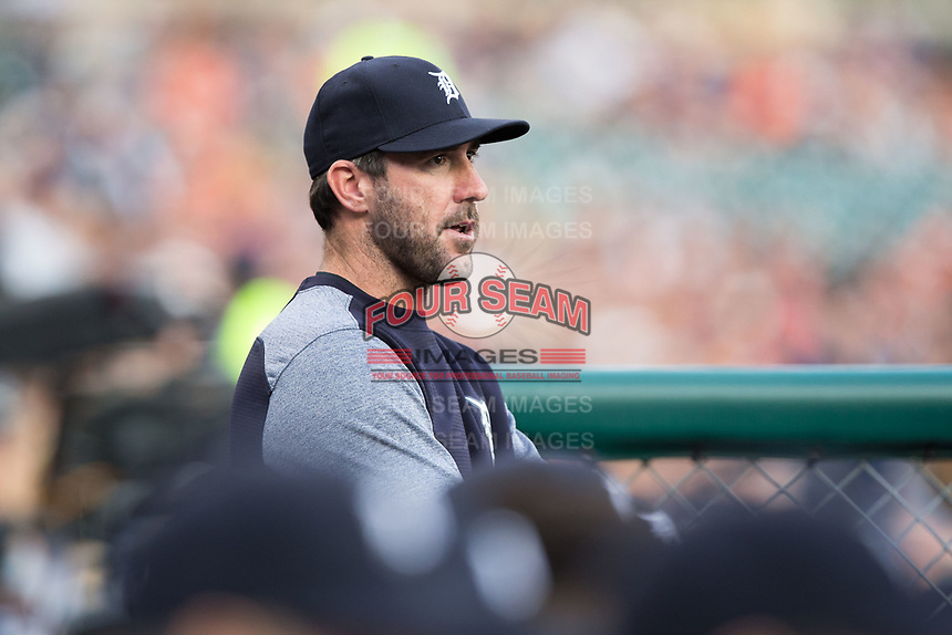 Detroit Tigers pitcher Justin Verlander (35) watches the action from the dugout during the game against the Chicago White Sox at Comerica Park on June 2, 2017 in Detroit, Michigan.  The Tigers defeated the White Sox 15-5.  (Brian Westerholt/Four Seam Images)