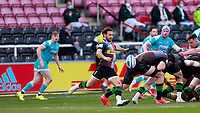 17th April 2021; Twickenham Stoop, London, England; English Premiership Rugby, Harlequins versus Worcester Warriors; Danny Care of Harlequins clearing the ball deep with a box kick