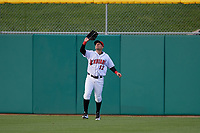 Indianapolis Indians center fielder Danny Ortiz (12) catches a fly ball during a game against the Toledo Mud Hens on May 2, 2017 at Victory Field in Indianapolis, Indiana.  Indianapolis defeated Toledo 9-2.  (Mike Janes/Four Seam Images)