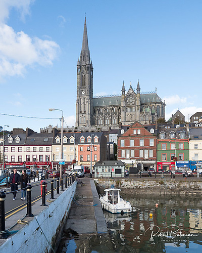 The coastal town of Cobh on Great Island in Cork Harbour