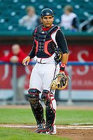 Lansing Lugnuts catcher Santiago Nessy (37) on defense against the Fort Wayne TinCaps at Cooley Law School Stadium on June 5, 2013 in Lansing, Michigan.  The TinCaps defeated the Lugnuts 8-5.  (Brian Westerholt/Four Seam Images)