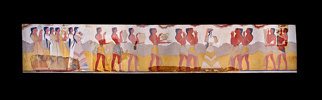 The Minoan 'Procession Fresco', wall art from the South Prpylaeum, Knossos Palace, 1500-1400 BC . Heraklion Archaeological Museum. Black Background. <br /> <br /> This latrge Minoan fresco of many figure in procession would have decorated the corridor between the West Porch and the South Propylaeum of Knossos Palace. Both sides of the corridor were painted with hundreds of male and femal;e figures carrying precious utensils and vessels, probably depicting gift bearers to the ruler of the Palace. The composition is much like those found in the Palaces and tombs of Egypt and the near east at the time. Neopalatial final period.