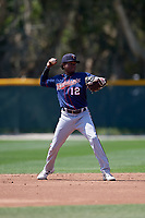 Minnesota Twins Yeltsin Encarnacion (12) during a Minor League Spring Training game against the Baltimore Orioles on March 25, 2019 at the Buck O'Neil Baseball Complex in Sarasota, Florida.  (Mike Janes/Four Seam Images)