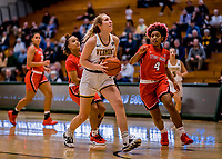 19 February 2020: University of Vermont Catamount Forward Delaney Richason, a Freshman from Zionsville, IN, goes for a shot in first-half action against the Stony Brook Seawolves at Patrick Gymnasium in Burlington, Vermont. The Lady Seawolves edged out the Lady Catamounts 72-68 in America East Women's Basketball. Mandatory Credit: Ed Wolfstein Photo *** RAW (NEF) Image File Available ***