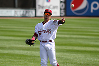 Wisconsin Timber Rattlers outfielder Carlos Rodriguez (3) warms up in the outfield prior to a game against the Cedar Rapids Kernels on September 8, 2021 at Neuroscience Group Field at Fox Cities Stadium in Grand Chute, Wisconsin.  (Brad Krause/Four Seam Images)