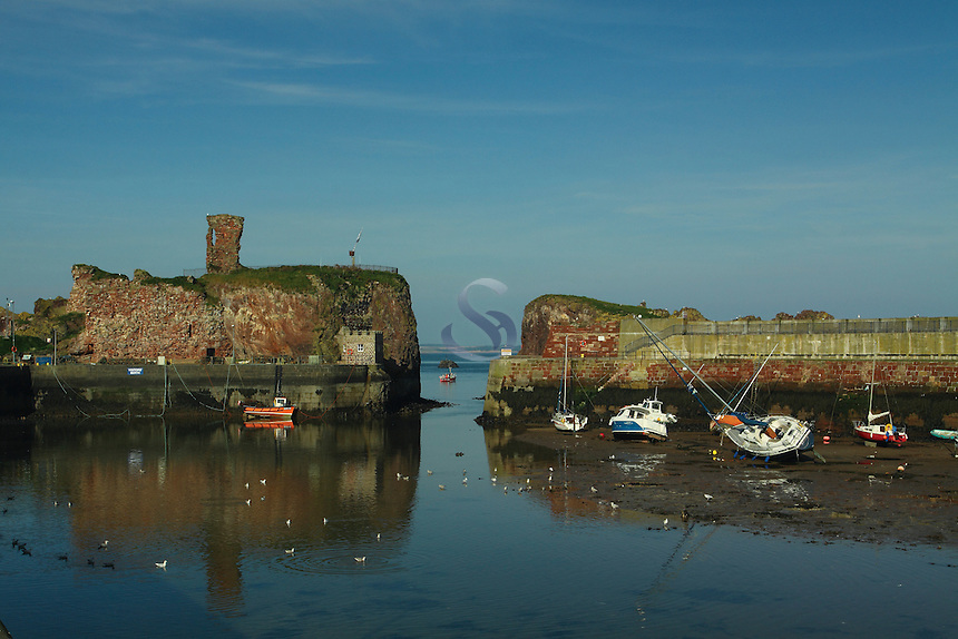 Dunbar Harbour and Dunbar Castle, Dunbar, East Lothian<br /> <br /> Copyright www.scottishhorizons.co.uk/Keith Fergus 2011 All Rights Reserved