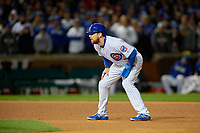 Chicago Cubs Ben Zobrist (18) leads off second base in the fourth inning during Game 5 of the Major League Baseball World Series against the Cleveland Indians on October 30, 2016 at Wrigley Field in Chicago, Illinois.  (Mike Janes/Four Seam Images)