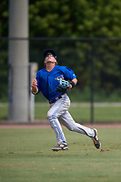 Toronto Blue Jays left fielder Reilly Johnson (7) attempts to make a play on a fly ball during an Instructional League game against the Philadelphia Phillies on September 30, 2017 at the Carpenter Complex in Clearwater, Florida.  (Mike Janes/Four Seam Images)