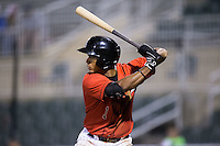 Dante Flores (1) of the Kannapolis Intimidators at bat against the Hagerstown Suns at Kannapolis Intimidators Stadium on May 4, 2016 in Kannapolis, North Carolina.  The Intimidators defeated the Suns 7-4.  (Brian Westerholt/Four Seam Images)