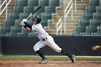 Nolan Brown (6) of the Kannapolis Intimidators follows through on his swing against the Lakewood BlueClaws at Kannapolis Intimidators Stadium on April 8, 2018 in Kannapolis, North Carolina.  The Intimidators defeated the BlueClaws 5-1 in game one of a double-header.  (Brian Westerholt/Four Seam Images)