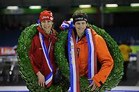 SCHAATSEN: HEERENVEEN: Thialf, KPN NK Sprint, 30-12-11, Stefan Groothuis, Margot Boer, ©foto: Martin de Jong.