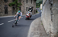 Lukas Pöstlberger (AUT/BORA - hansgrohe) trying to flee from the breakaway group at 25km from the finish<br /> <br /> Stage 9: Saint-Étienne to Brioude(170km)<br /> 106th Tour de France 2019 (2.UWT)<br /> <br /> ©kramon