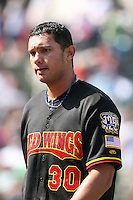 April 17th, 2008:  Pitcher Mariano Gomez (30) of the Rochester Red Wings, Class-AAA affiliate of the Minnesota Twins, walks off the field during a game at Frontier Field in Rochester, NY.  Photo by:  Mike Janes/Four Seam Images