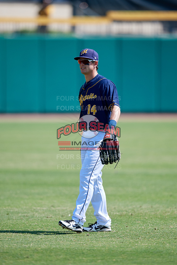 Montgomery Biscuits left fielder Nick Solak (14) warms up before a game against the Biloxi Shuckers on May 8, 2018 at Montgomery Riverwalk Stadium in Montgomery, Alabama.  Montgomery defeated Biloxi 10-5.  (Mike Janes/Four Seam Images)