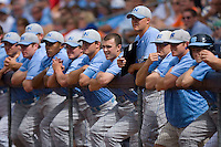 The North Carolina Tar Heels bench watches the action from the top step of the dugout versus the Clemson Tigers at Durham Bulls Athletic Park May 23, 2009 in Durham, North Carolina. The Tigers defeated the Tar Heals 4-3 in 11 innings.  (Photo by Brian Westerholt / Four Seam Images)