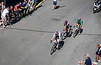 breakaway trio consisting of Italian Champion Sonny Colbrelli (ITA/Bahrain - Victorious), Marc Hirschi (SUI/UAE) & Slovenian Champion Matej Mohoric (SVN/Bahrain - Victorious) up the famous Côte de Saint-Roch during a 2nd passage through Houffalize<br /> <br /> 17th Benelux Tour 2021<br /> Stage 6 from Ottignies/Louvain-la-Neuve to Houffalize (BEL/208km)<br /> <br /> ©kramon