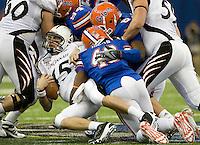 01 January 2010:  Brandon Hicks of Florida sacks Cincinnati's quarterback Tony Pike during the game during Sugar Bowl at the SuperDome in New Orleans, Louisiana.  Florida defeated Cincinnati, 51-24.