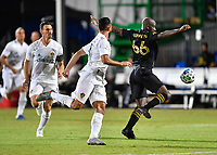 LAKE BUENA VISTA, FL - JULY 18: Bradley Wright-Phillips #66 of LAFC settles a ball away from pressure during a game between Los Angeles Galaxy and Los Angeles FC at ESPN Wide World of Sports on July 18, 2020 in Lake Buena Vista, Florida.