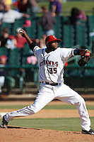 Jose Trinidad #35 of the Lancaster JetHawks pitches against the Lake Elsinore Storm at Clear Channel Stadium on April 15, 2012 in Lancaster,California. Lake Elsinore defeated Lancaster 7-5.(Larry Goren/Four Seam Images)