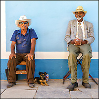 Faces Of Cuba - Tres Amigos - good friends enjoy the 500 year celebration in Trinidad Cuba.<br />