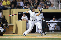 Keegan Maronpot (13) of the Wake Forest Demon Deacons follows through on his swing against the West Virginia Mountaineers in Game Four of the Winston-Salem Regional in the 2017 College World Series at David F. Couch Ballpark on June 3, 2017 in Winston-Salem, North Carolina.  The Demon Deacons walked-off the Mountaineers 4-3.  (Brian Westerholt/Four Seam Images)