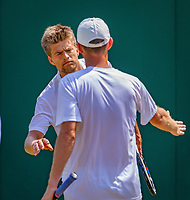 London, England, 6 th. July, 2018, Tennis,  Wimbledon, Men's doubles: Sander Arends (NED) and Matwe Middelkoop (NED) (R)<br /> Photo: Henk Koster/tennisimages.com